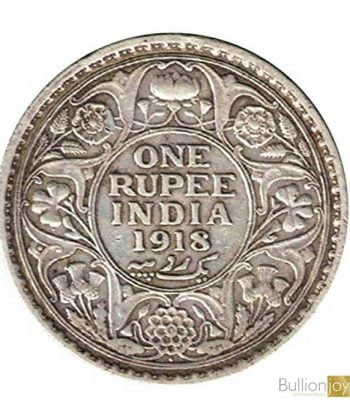 1918 King George V India One Rupee Original Silver Coin