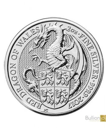 2017 2 oz Queen's Beasts Red Dragon of Wales Silver Coin