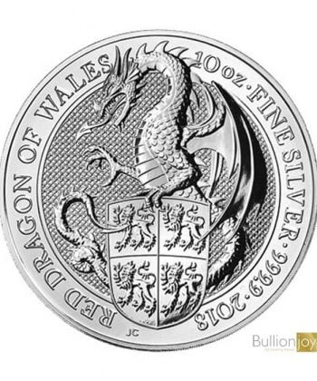 2018 10 oz Queen's Beasts Red Dragon of Wales Silver Coin
