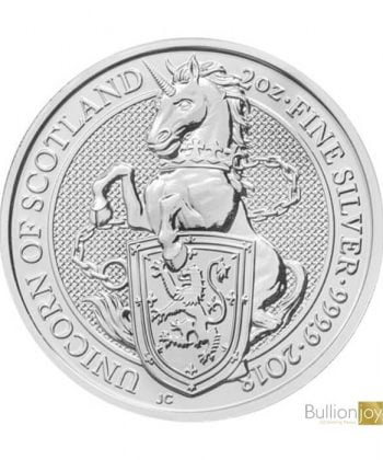 2018 2 oz Queen's Beasts Unicorn of Scotland Silver Coin