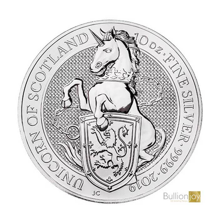 2019 10 oz Queen's Beasts Unicorn of Scotland Silver Coin