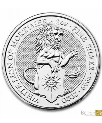 2020 2oz Silver Coin, White Lion of Mortimer, Queen's Beast
