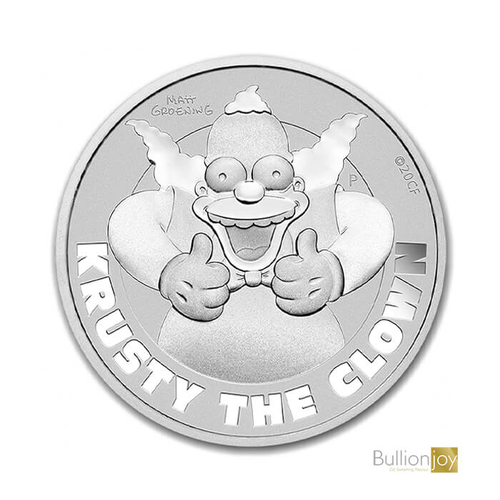 2020 1oz Krusty The Clown Silver The Simpsons BJ
