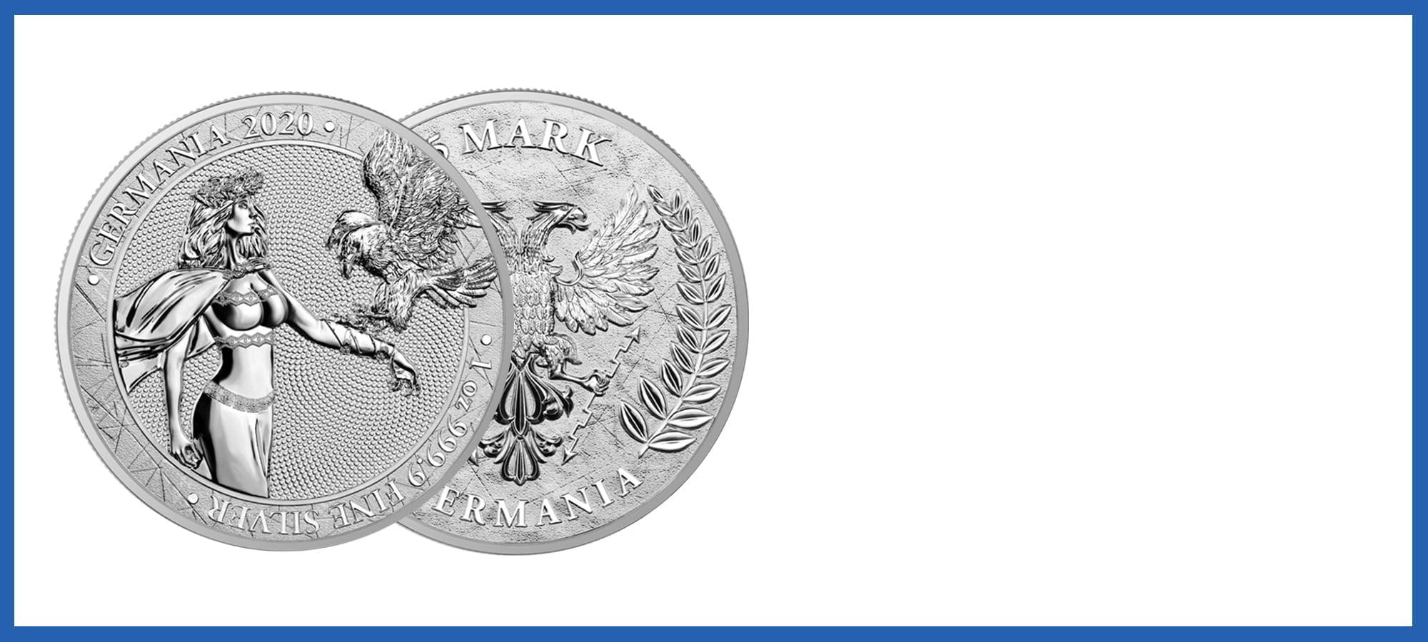 2020 1oz Lady Germania 5 Mark Silver Coin