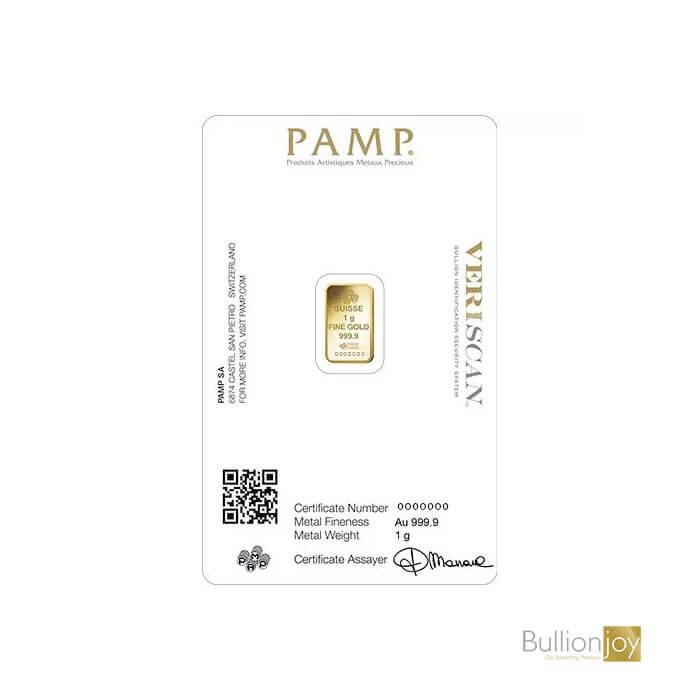 1 Gram PAMP Gold Bar Fortuna Veriscan