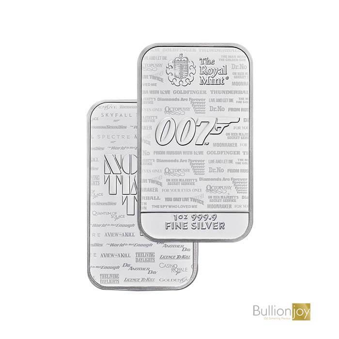 James Bond one ounce Silver Bar Minted